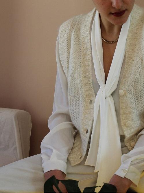 90s Vintage Mohair Vest in Cream White