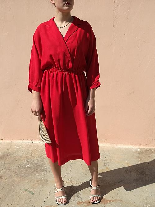 Vintage Midi Pleated Dress in Red