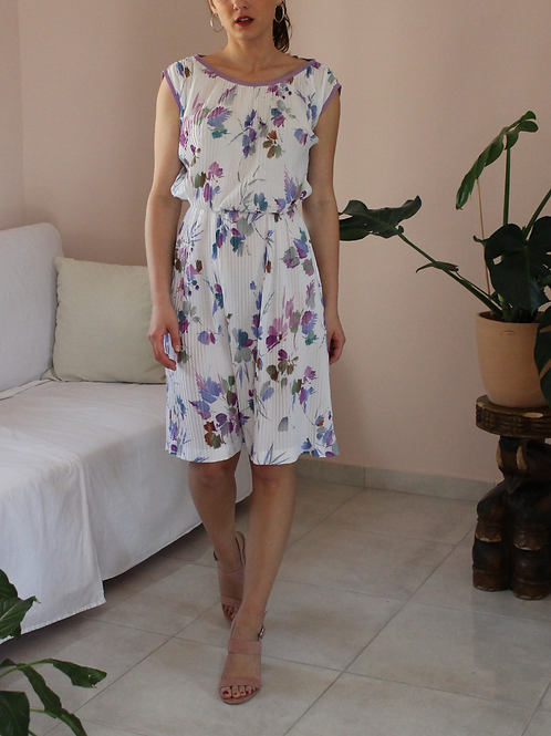 Vintage Summer Floral Dress in White - (EU38)