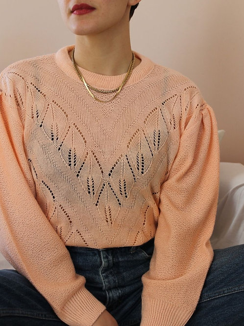 90s Vintage Cut Out Sweater in Peach Pink