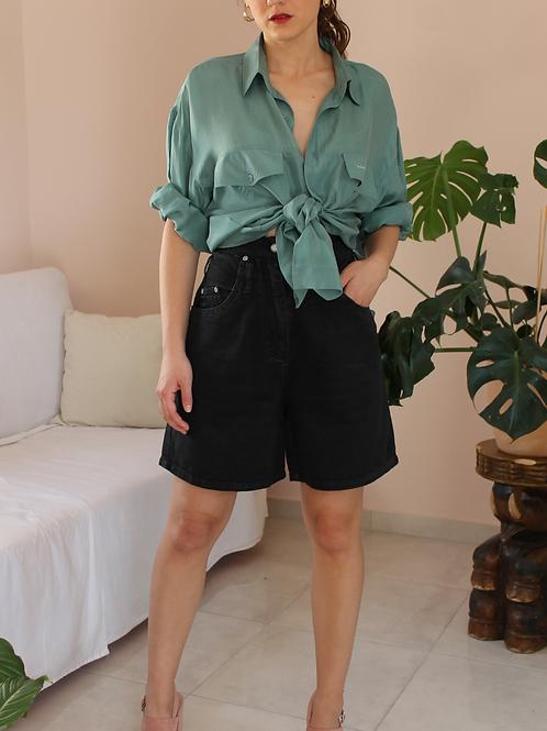 Vintage High Waisted Denim Shorts in Black ( EU 38)