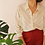 Thumbnail: Vintage Striped Button Up Shirt in Cream