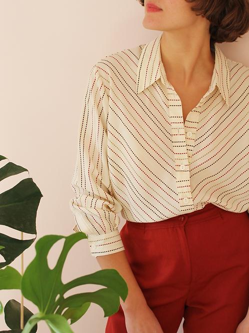 Vintage Striped Button Up Shirt in Cream