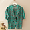 Thumbnail: 90s French Vintage Floral Blouse in Green  - (EU 46)