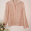 Thumbnail: Vintage Linen Mix Collared Blouse in Pastel Pink