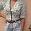 Thumbnail: Vintage Ruffle Neck Floral Blouse in White and Green