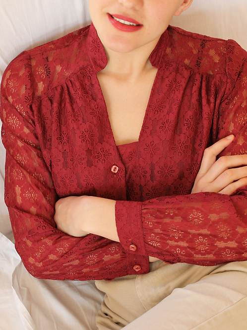Vintage Lace Blouse in Burgundy