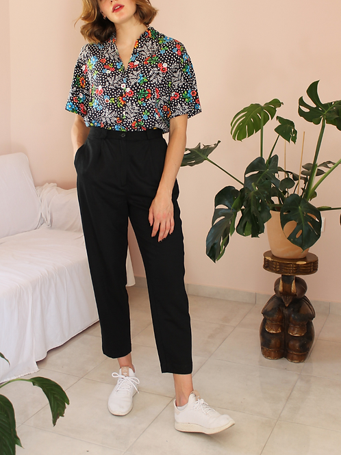 90s Vintage High Waisted Trousers in Black - (EU42)