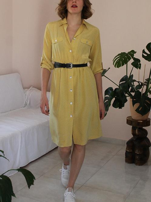 Vintage 100% Silk Dress in Yellow- (EU40)