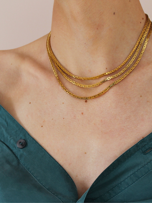 Vintage 60s Three Strand Chain Necklace
