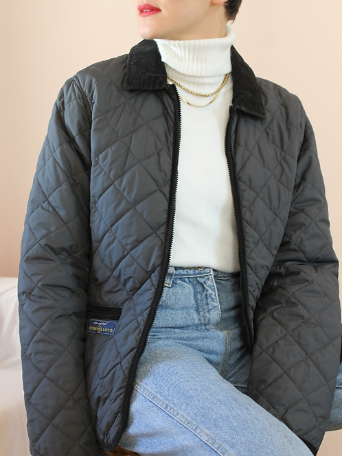 Vintage Utility Quilted Jacket in Grey