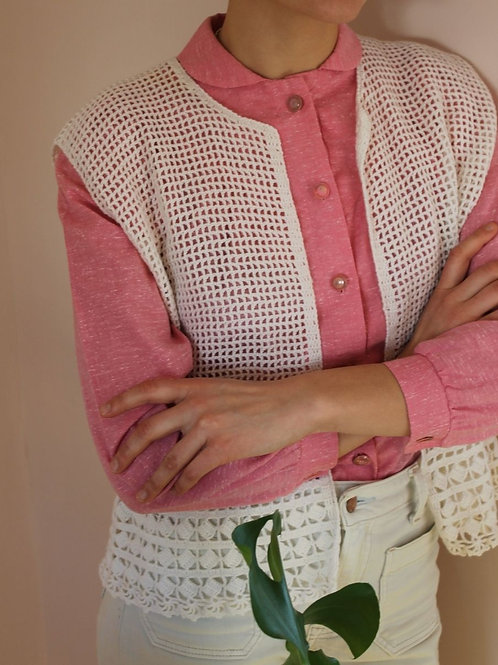 90s Vintage Handknit Vest in White
