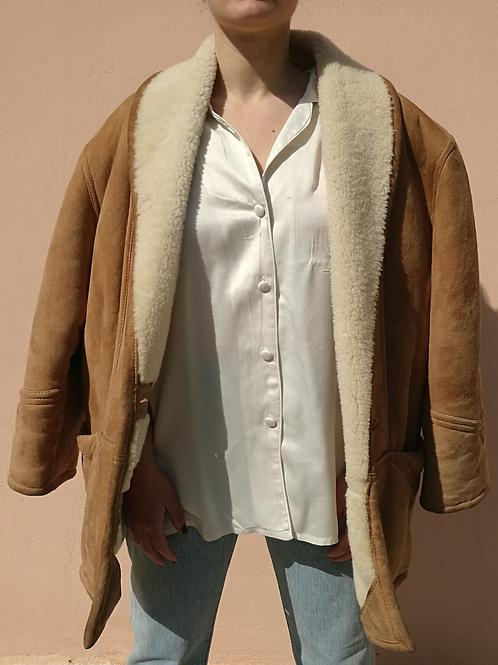 Vintage Leather Shearling Jacket Coat in Light Brown