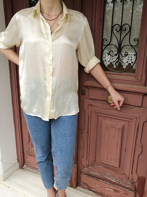 Vintage Collared Silk Blouse in Pale Yellow - Beige