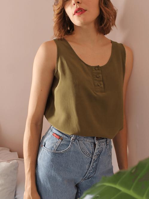 90s Vintage Silk Top in Olive Green - (EU44)