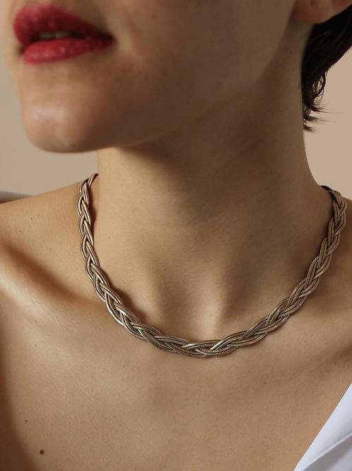 70s Vintage Plaited Herringbone Necklace