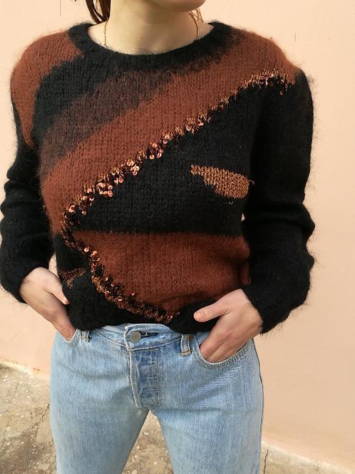 Vintage Mohair Sweater in Black & Brown