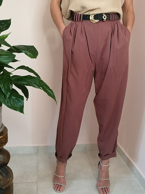 Vintage High Waisted Tapered Pants in Dried Rose