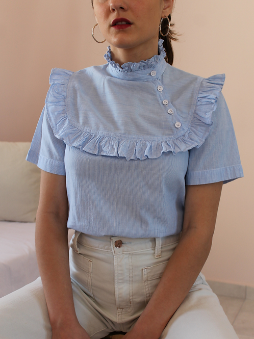 90s Vintage Statement Collar Blouse In Blue (EU38)