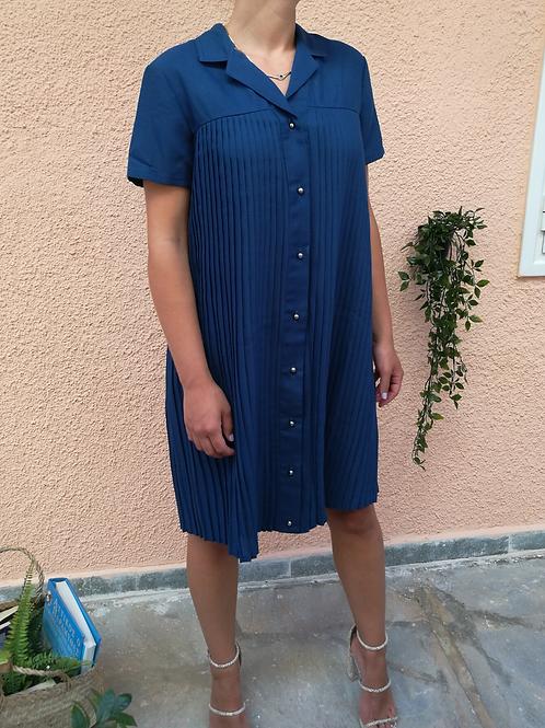 Vintage Minimal Pleated Dress in Navy Blue