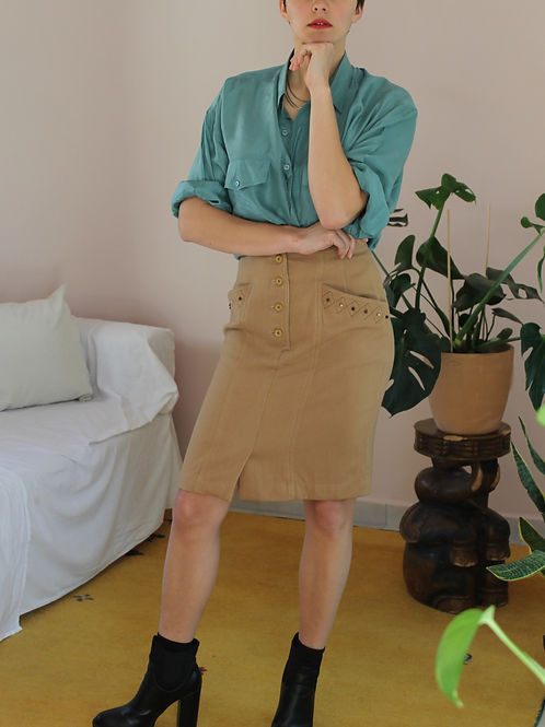 90s Vintage Midi Fitted Skirt in Caramel Brown