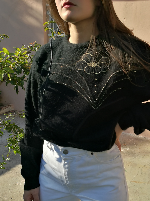 Vintage Black Embroidered Sweater Pullover