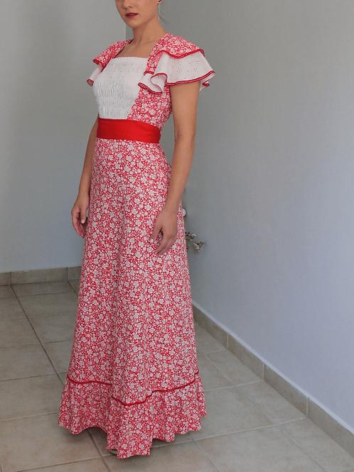 Vintage Maxi Floral Dress in Red - (EU 36)