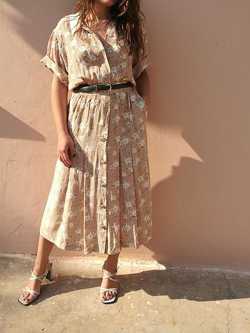 Vintage Maxi Floral Dress in Beige