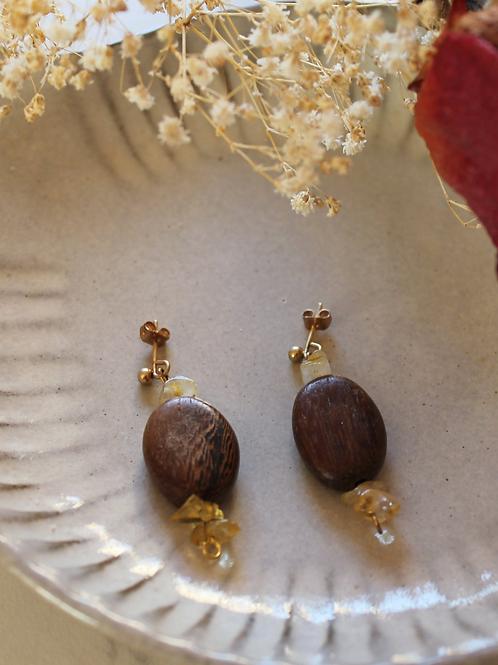 Vintage Wood Dangle Earrings