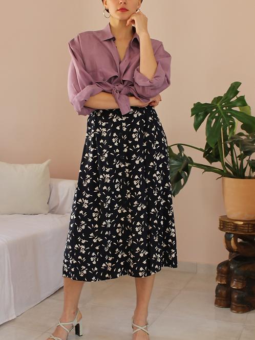 90s Vintage Floral Skirt in Navy Blue - (EU42)