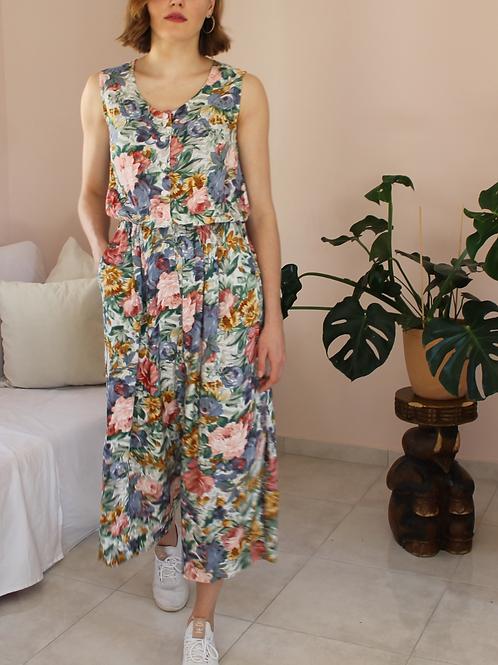 90s Vintage Floral Jumpsuit - (EU40-42)
