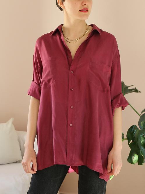 90s Vintage Silk Shirt in Burgundy