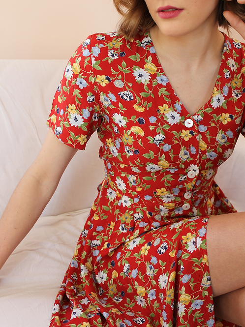 90s Vintage Floral Day Dress in Red- (EU42)
