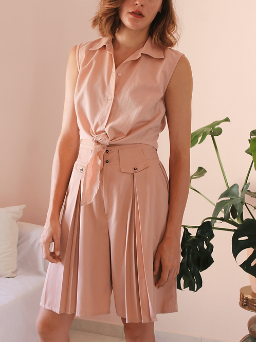French Vintage Culottes Shorts in Pastel Pink ( EU 40)