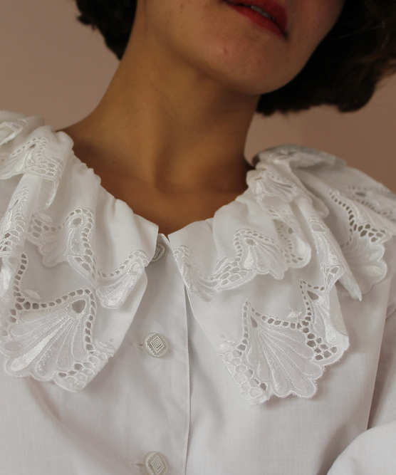 Vintage Embroidered Blouse with Puff Sle