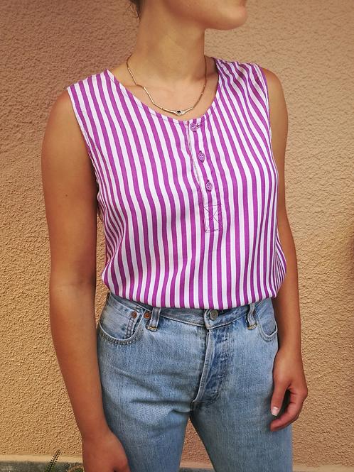 Vintage Striped Top in Purple