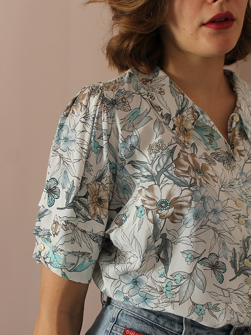 90s Vintage Pleated Sleeve Blouse in White - (EU44)