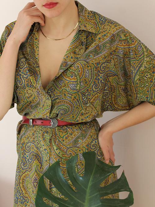 70s Vintage Midi Paisley Dress in Green