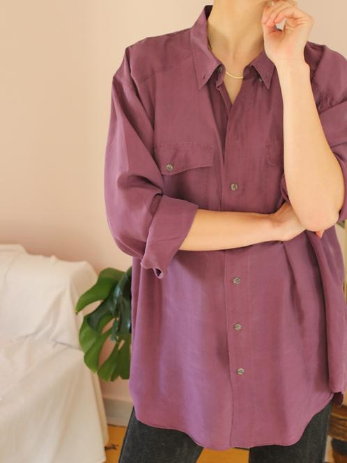 90s Vintage Silk Shirt in Tyrian Purple - (EU52)