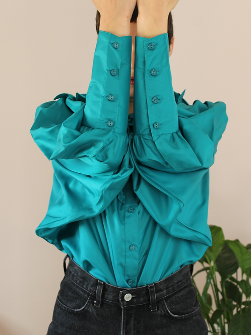 80s Vintage Statement Ruffle Blouse in Teal