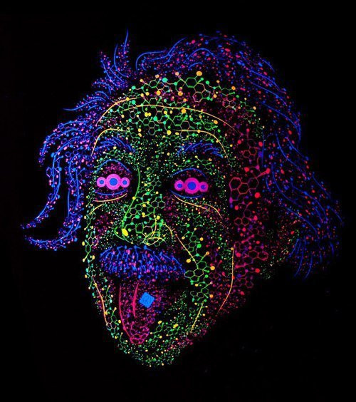 Albert Einstein tongue out psychedelic t-shirt by Andrei Verner
