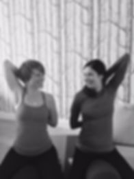 Pamela Scarborough and Ashley Harris Moore doing Yoga Physio post lung transplant for cystic fibrosis.