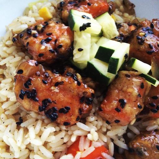 Vegan General Tso Glazed Carrots Fried Rice with Black Sesame