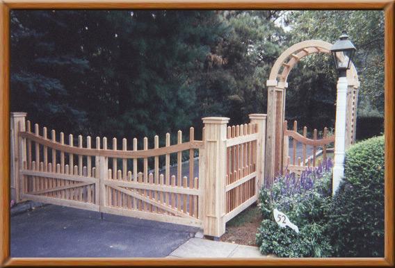 Driveway Gates with Cedar Arbor