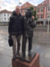 KB & Grieg outside Bergen Concert House.