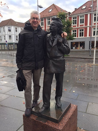 KB & Grieg outside Bergen Concert House.