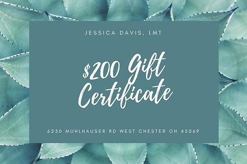 $200 Massage Gift Certificate