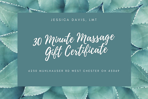 30 Minute Massage Gift Certificate