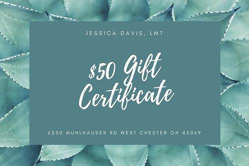 $50 Massage Gift Certificate