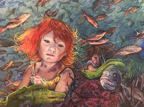 """Water Babies"" Limited Edition, Hand Embellished Giclee Print"